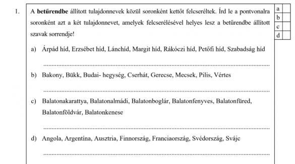 A Magyarországi gimnáziumok felvételi feladatsorai
