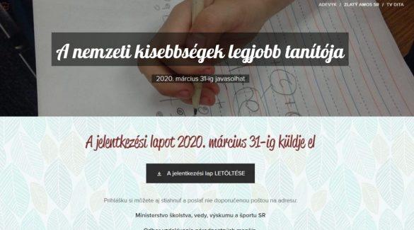 Magyar iskolák pedagógusait is lehet jelölni az Arany Amos-díjra