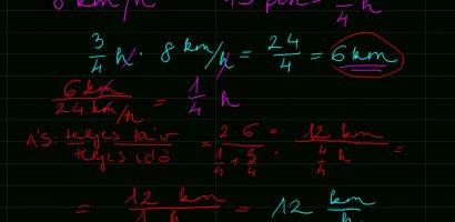Matematika: Átlagsebesség számítása
