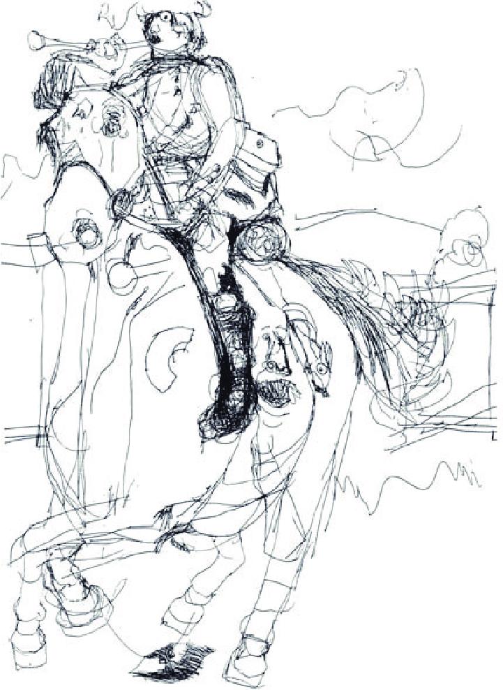Nadia öt és fél éves kori rajza egy lóról és lovasáról (Gardner 1982: 189)