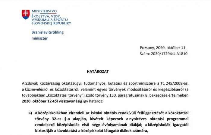 Az iskolai oktatás rendkívüli felfüggesztéséről szóló határozat – magyarul