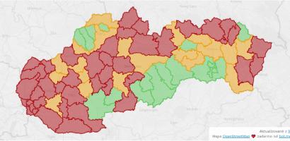 Már 41 járás vörös, szinte egész Délnyugat-Szlovákia