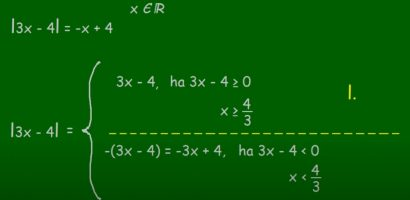 MATEK 9. osztály – Abszolútérték, abszolútértékes egyenlet