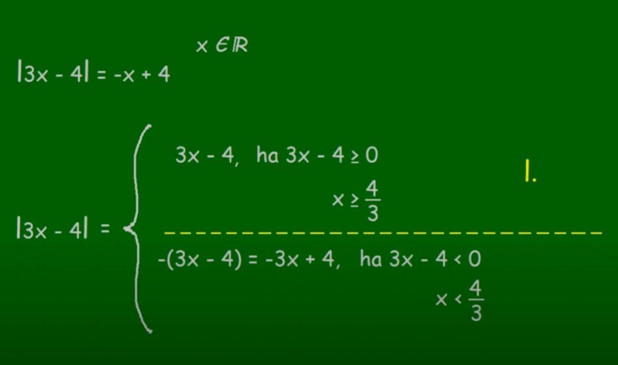Abszolútérték, abszolútértékes egyenlet