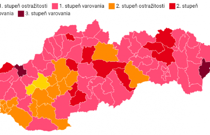 Pozsony, Dunaszerdahely, Vágsellye, Érsekújvár és Rozsnyó is narancssárgába fordul