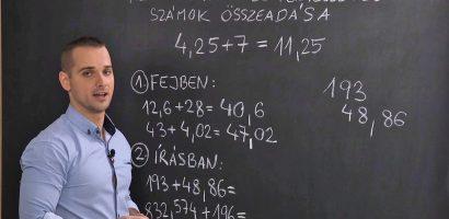 Matematika 6. o. – A tizedestörtek és a természetes számok összeadása