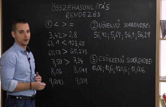 Matematika 6. o. – Tizedestörtek összehasonlítása és rendezése