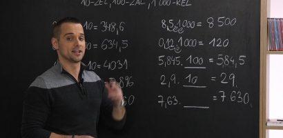 Matematika 6. o. – Tizedestörtek szorzása 10‑zel, 100‑zal, 1 000‑rel