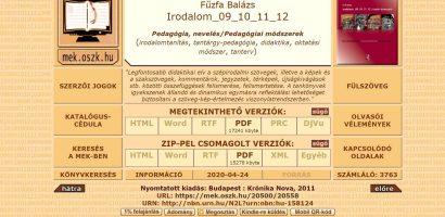 Letölthetők Fűzfa Balázs középiskolai irodalomtankönyvei